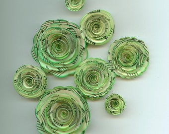 Green Inked Music Note Rose Spiral Paper Flowers for Weddings, Bouquets, Events and Crafts