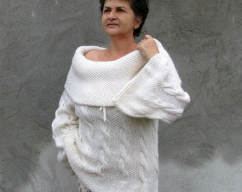 Women tops Sweaters & Cardigans handmade Hand knit Sweater... L / XL / White