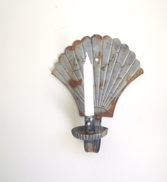 Tin Wall Sconce Candle Holder : Antique Tin Sconce / Candle Holder / Fan Shaped Primitive