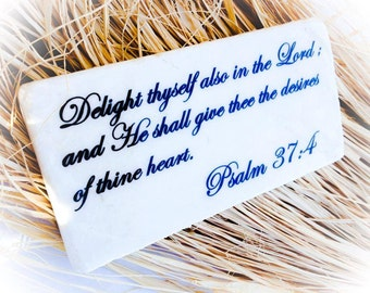 Psalm 37:4 Stone 3x6 Plaque Sign Bible Verse