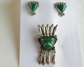 Vintage Mexican Earring/Brooch Set---Sterling Silver
