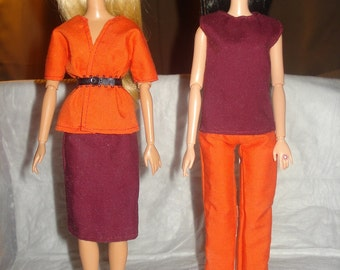 4-piece business suit with belt in orange and maroon for Fashion Dolls - ed533