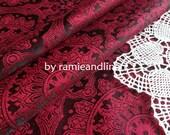 """silk fabric, yarn dyed foral brocade weaved silk fabric, half  yard by 44"""" wide"""
