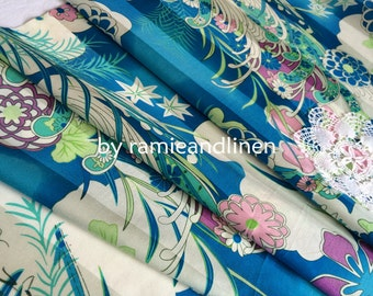 "silk fabric, Japanese icons flowers print satin stripe silk cotton blend fabric, half yard by 44"" wide"