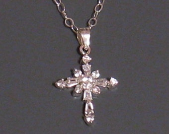 CZ Sterling Silver Cross Necklace with Cubic Zirconia Cross Pendant, Bridal Necklace, Confirmation Gift, Mothers Day Gift