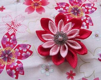 Kanzashi Pince à cheveux Fleur Tsumami rose