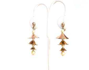 Vintage 1950s Pagoda Bells Earrings Articulated Brass Pearls Screw Backs