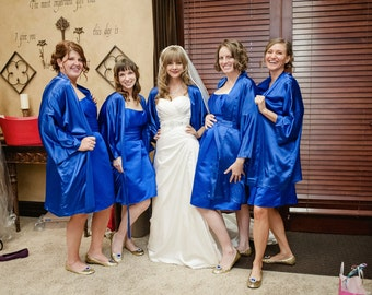 Bridesmaid Robes Royal Blue wedding robes bridesmaid silk robe dressing gown personalized silk robe kimono robe embroidered robe custom made