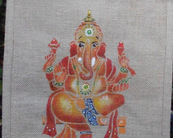 Ganesh hand painted jute bag