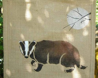 Badger Brock jute bag hand painted eco