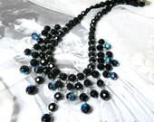 Black necklace,black bib necklace, black beade necklace, short black necklace