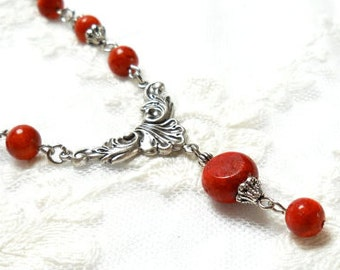 SALE red necklace coral necklace red coral necklace filigree necklace sponge coral necklace