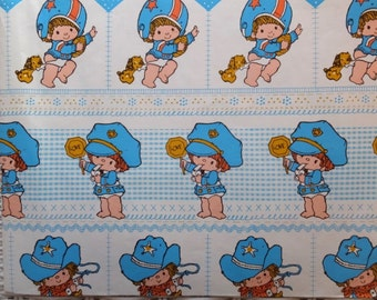 Vintage Cowboy Football Baseball Policeman Baby Shower Gift Wrap Wrapping Paper
