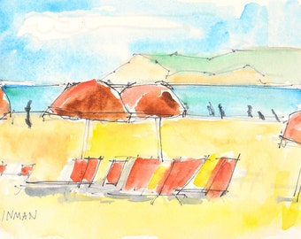 Beach Chairs at Hotel del Coronado, San Diego Watercolor Painting