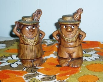 Tiki Man and Woman Salt and Pepper Shakers