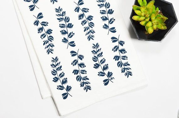 Tea Towel - Screen Printed - Navy Bluebonnets on White