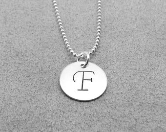 Monogram Necklace, Letter F, Personalized Jewelry, Initial Pendant, Charm, Initial Necklaces, Sterling Silver Jewelry, Sterling Initials