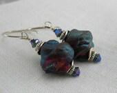 Metallic Blue and Purple Sterling Silver Raku earrings