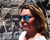 Bermuda Blue Crystal Earrings, Bridal Beach Wedding Earrings, Teal Crystal Love Knot Earrings