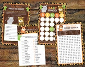 Baby Shower Game Pack -- Leopard Print Jungle Games -- 4 Baby Shower Games -- Instant Download