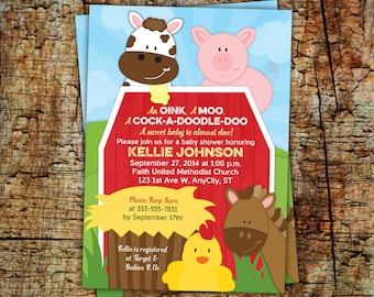 Farm Invitation, Barnyard Invitation with sky background, Kid Birthday or Baby Shower printable invitation