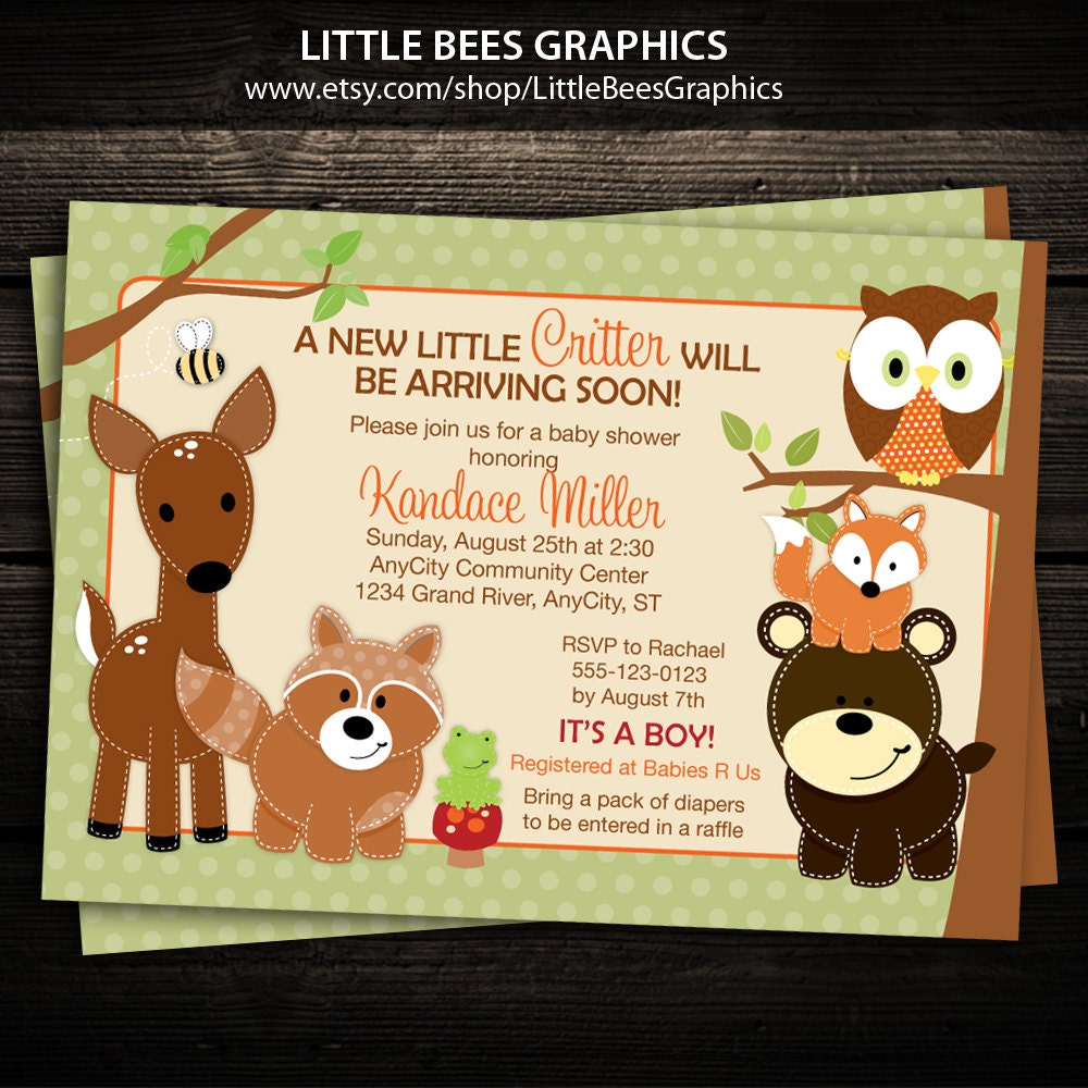 It is a picture of Rare Free Printable Woodland Baby Shower Invitations