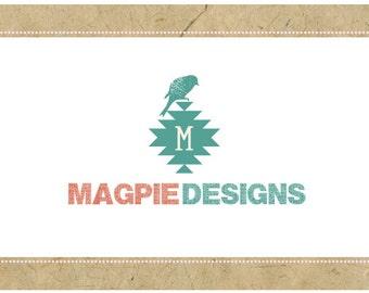 Custom Logo Design - PreDesigned Logo - PreMade Logo - Vector Logo - OOAK Logo -  MAGPIE Logo Design - Bird Logo - Southwest Logo - Raven