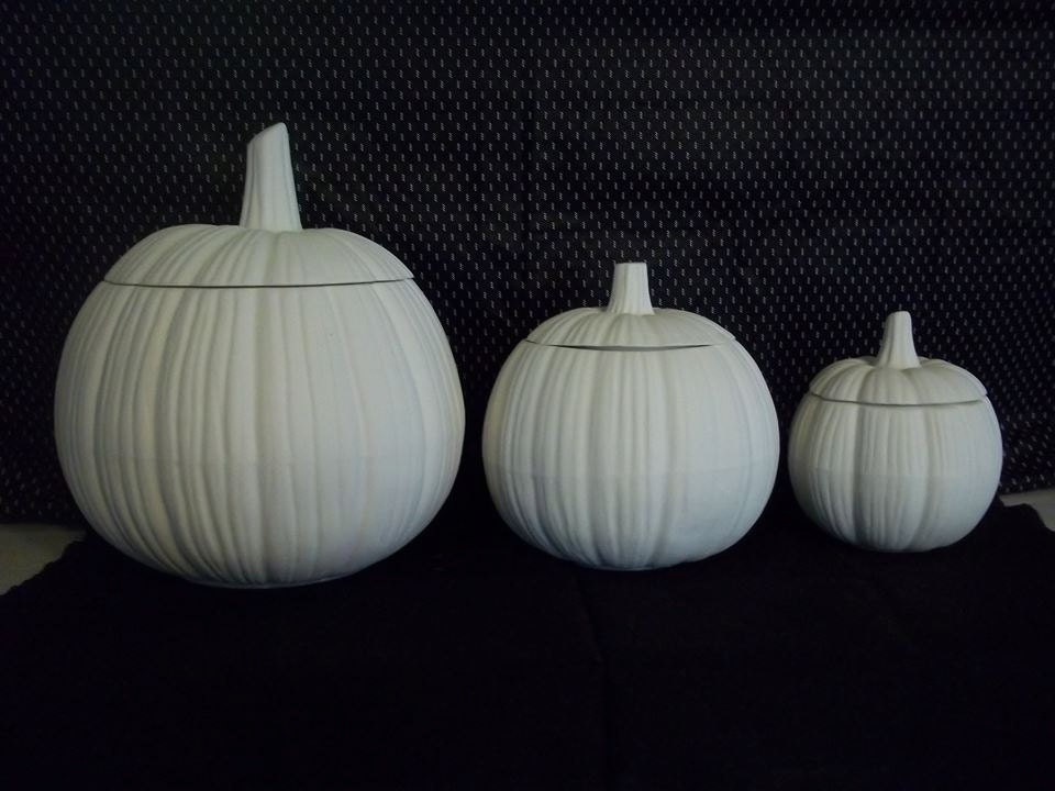 Ceramic Bisque Pumpkin Canister Set U Paint