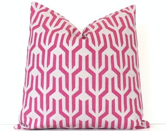 Dark Pink decorative Designer Pillow Cover 18 Accent Throw Cushion geometric modern radiant orchid Pantone 2014 lattice violet gray grey