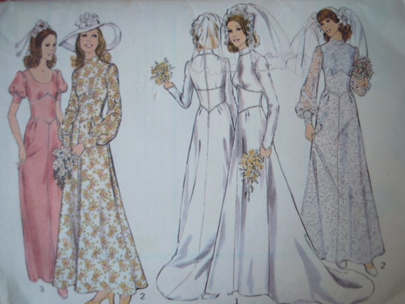 Vintage Style 1970s Does 1930s Wedding Dress Sewing Pattern B