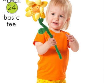 T-shirt sewing pattern, long & short sleeve, pdf download, sizes from 0M to 6T -Pattern 24