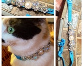 "Medium Large ""Moonstruck"" CAT collar Custom rhinestone, Boutique pet, Spoiled, Jeweled"