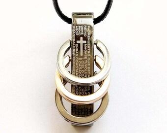 Titanium Steel Cross Leather Cord Bead Pendant Necklace 36mm x 17mm  T2754
