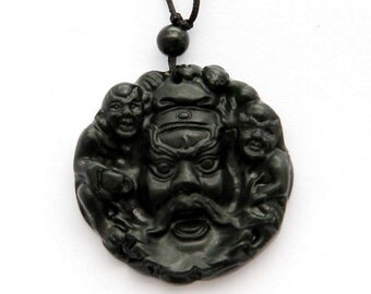Natural Stone Pendant Evil Catcher Zhong Kui Head Ghost Amulet Charm 40mm x 40mm  TH101