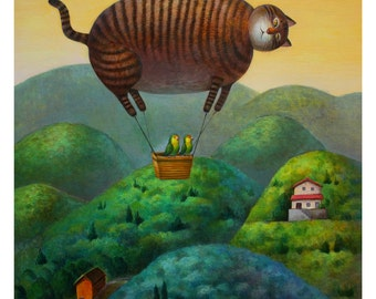 14 x 11 Print - Cat balloon to your house