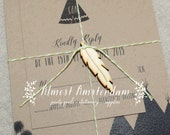1 to 40 Feather charms for invitations - feather invitation - tribal invitation - teepee invitation - wigwam invitation - nature invitation