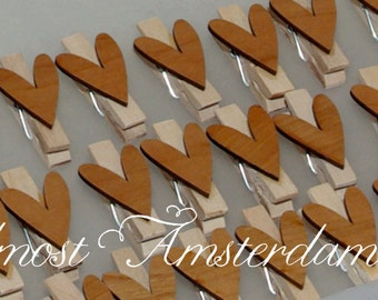 Handmade Mini Clothes Pegs/Clothes Pins Decorated with Wooden Heart