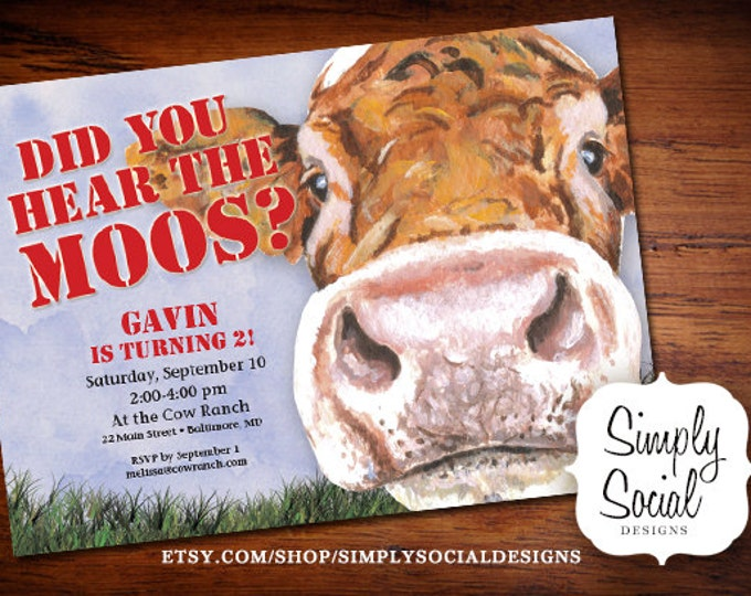 Cow Birthday Party Invitation Did you hear the moos PRINTABLE