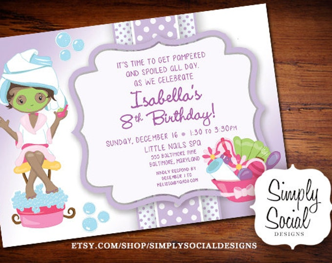 Kid's Spa Birthday Party Invitation Manicure Pedicure Purple African American Printable