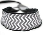 Metallic Camera Strap - DSLR Camera Strap- Gray Camera Neck Strap - Nikon Camera Strap - Sony Camera - Photographer Gift - Silver Chevron
