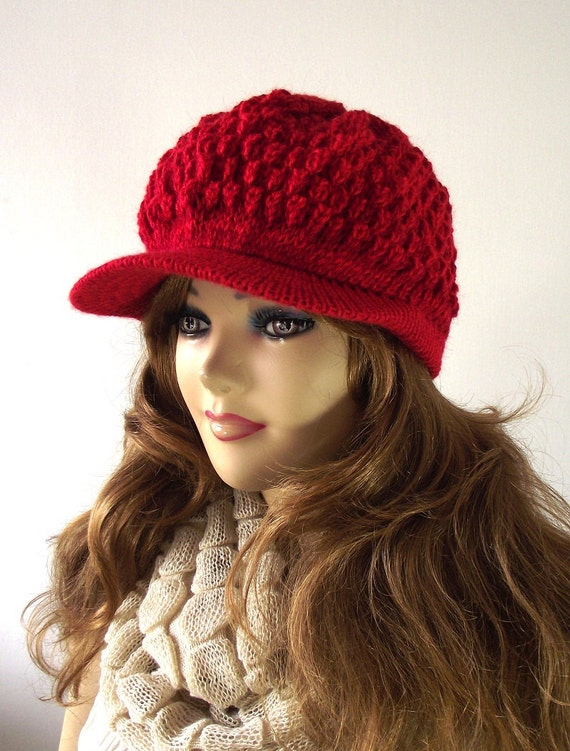 Knit Hat Newsboy Woman Cap RED Winter Beanie Hat Knit Woman Fashion Fall Winter Hat Lovely and Warm