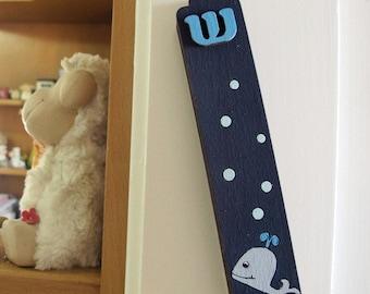 Children Mezuzah Case -  Blue whales mezuzah for nursery and children's room, kids wall art, kids room decor