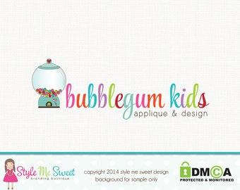 Gumball Machine Logo Candy Logo Party Logo Childrens Boutique Logo Photography Logo Hand Drawn Logo