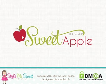 Premade Apple Logo Fruit Logo Photography Logo Small Business Branding Watermark Design Hand Drawn
