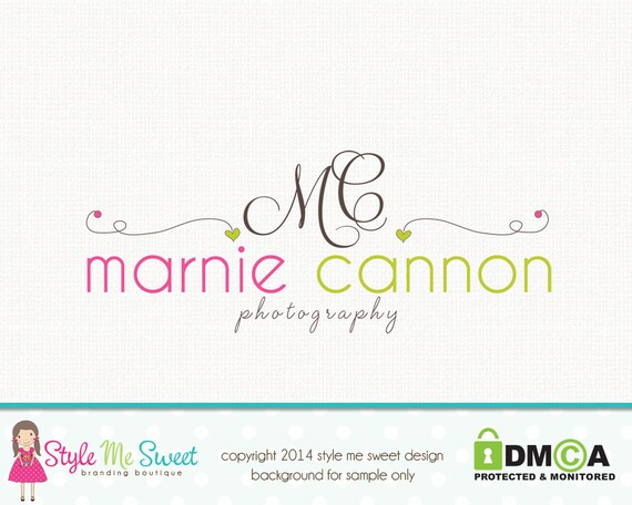 Photography Logo Design -  Hand Drawn Swirls With Hearts and Beautiful Text Photography Small Business Logo Watermark Design