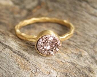 Tiny Rose Gold Druzy Ring Titanium Drusy Quartz 18K Gold Vermeil Hammered Band