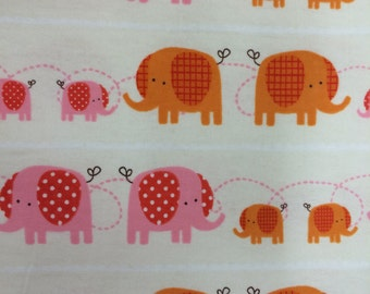 Baby Elephants on Parade - FLANNEL Fabric - BTY