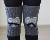 Gray knee warmers, Cat Knit Knee socks for women, Knee warmers, Women legwarmers, Animal figure accessories, Knit leggings, Grey legwarmers