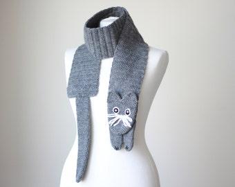 Chunky scarf, Kitty Scarf grey, Women Cat scarf, Crochet kitty scarf, Cat Crochet Scarf, Cat neck warmer, Grey scarf for kids, shrug