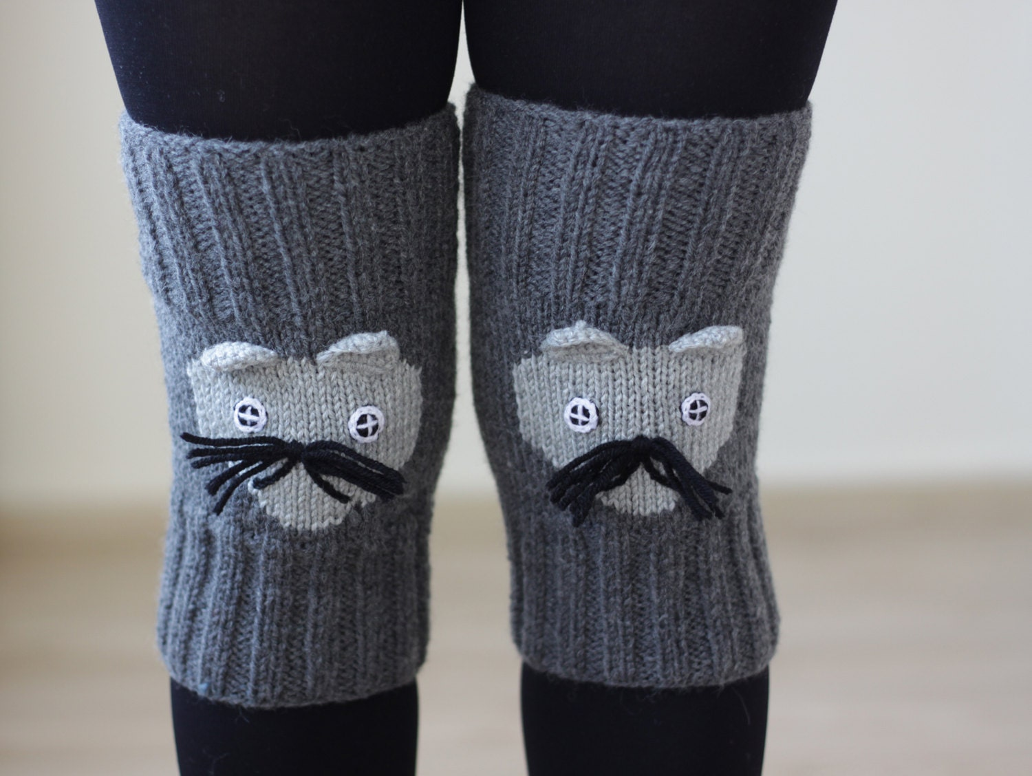 Knitting Pattern For Cat Socks : Gray knee warmers Cat Knit Knee socks for women Knee by ...